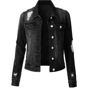 Solid Color Womens Designer Denim Jacken Mode dünne Weinlese zerrissener Frauen Denim-Jacken beiläufige Frauen Kleidung