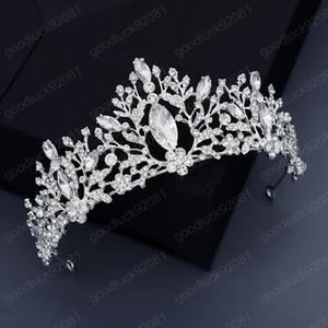 Luxus handgemachte Strass Legierung Tiaras Frauen Crown Silber Farbe Stirnband Barock Prinzessin Diadema Haarschmuck Zubehör