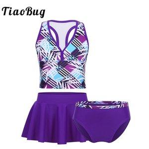 TiaoBug Kids Teens Purple Tankini Swimsuit Girls Swimwear Bathing Suit Plaid Crop Top with Bottoms Skirt Children Bikini Set MX200613