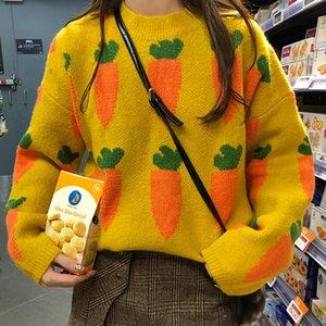 Suéteres de punto para mujer Estilo pastoral suelto Rábano Impreso Color puro Cuello redondo Suéteres a prueba de frío y calor de los estudiantes