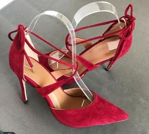 2019 neue Art rot schwarz Wildleder Sandalen 8cm 10cm Big Code 44 Cusp Frauen Red Bottom Schuhe mit hohen Absätzen Feiner Absatz Nachtclub Hochzeitsbankett