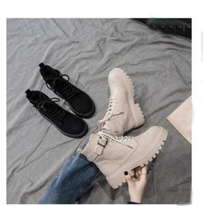 Бежевый Мартин ботинок женщина британский ветер 2019 новых диких весной и осенью одиночные ботинки короткие трубки платформы осенние модели мотоциклов короткие