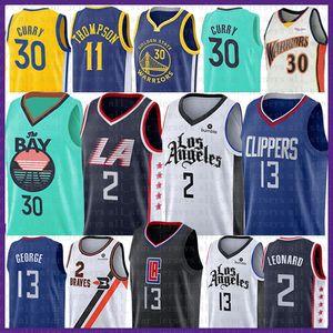Kawhi Leonard 2 Clipper Paul 13 George pallacanestro Jersey 2020 Nuovo Stephen Curry 30 Klay Thompson 11 NCAA Maglie