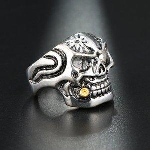 Gold Smoking Pipe Biker Men's Rings Rock Punk Skull Ring Titanium Steel Clear Zircon Eye Plating Rings Men Jewelry