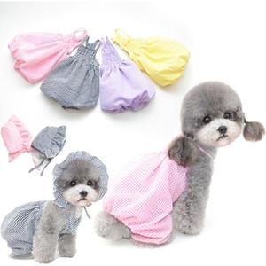 اللباس S-XXL منقوشة ملابس الصيف جرو ملابس الزي حتى كلب اللباس الصيف كلب الملابس تنورة مع القبعة