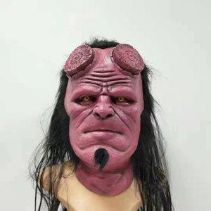 Kırmızı Hellboy Maskesi Cehennem çocuk Asma Hood Siyah Cadılar Bayramı Maskeleri korkutucu lateks maskara terör vestido de festa yüz maskesinin Cosplay