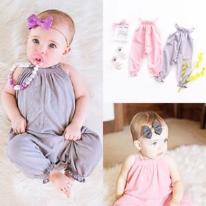 Novo Estilo Verão PinkGray Rompers Crianças Baby Girl Clothes Strap Romper Casual infantil soltas sem mangas Jumpsuit playsuit Outfits