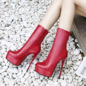 Più di formato 36 per 40 41 42 43 44 45 46 Sexy Zipper tacco a spillo piattaforma stivaletti Nightclub Designer Shoes