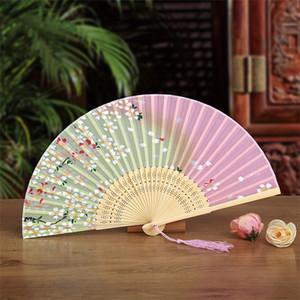 Ventilador de estilo japonés Ventiladores femeninos de seda Peony Pintura china Imagen Retro Fans Seda Plegable Hold Fan 11 colores Favor de fiesta 200pcs T1I1760
