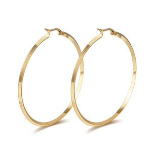 Big Stainless Steel Jewelry Gold-color   Silver-Color Round Hoop Earrings for Women