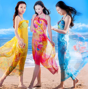 200 * 140CM أزياء الحرير والأوشحة شال المرأة الشيفون شاطئ منشفة بطانية الزهور طباعة الصيف واقية من الشمس يلف فتاة ركوب الخيل وشاح GGA3376
