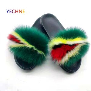 New Women's Real Fox Fur Slippers Home Furry Shoes Fluffy Plush Sandals Soft And Comfortable EVA Sexy Flip Flops Size 36-45