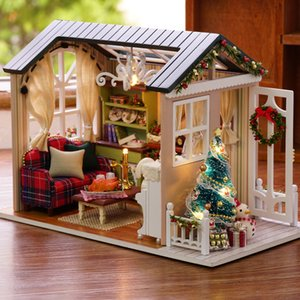 Diy Christmas Miniature Dollhouse Kit Vintage Home Decoration Accessories Modern Mini 3d Led Wooden House Room Children's Gift Q190426
