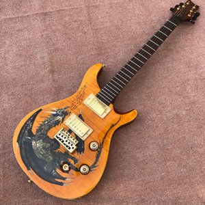 New high-quality handmade electric guitar, customized yellow dragon pattern water transfer electric guitar, mahogany fingerboard