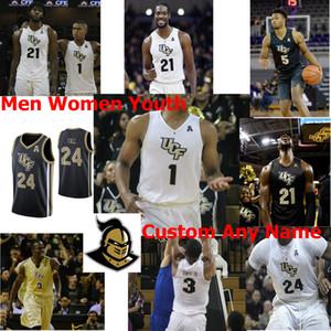 Costumbre UCF Caballeros Baloncesto universitario NCAA jerseys para hombre, Frank Bertz Jersey Darin Verde Jr. Ryan Anders Collin Smith BJ Taylor Negro cosido