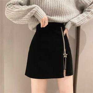 Eachin Frauen Korean Tweed Röcke Herbst-Winter-hohe Taille A-Linie Bodycon Bottoms weibliche sexy Zipper dünner mini kurzer Rock
