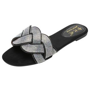 Mulheres Summe Rhinestone Shoes r Plano Chinelos de dedo do pé aberto Roman Praia Sandálias Ladies Flip Flops Preto antiderrapante Slides Dropshipping