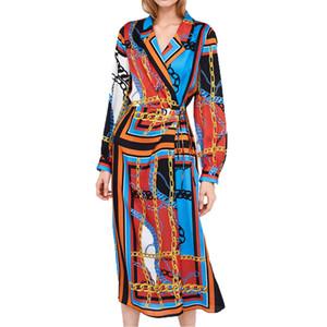 Vestido de primavera 2019 de impresión casual para mujer ropa con cordones vestido de manga larga vestido maxi