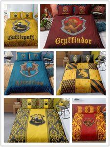 Juego de sábanas 3D Juego de funda nórdica con estampado de insignia de Harry Potter Campus Juego de sábanas con funda de almohada Juego de cama Textiles para el hogar