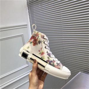 Последние моды холст обувь Высокое качество B23 OBLIQUE Sneaker Tissu МЕТОДИКА ЦВЕТЫ Sneaker мужчины женщины высокого верха обуви холст кроссовки сандалии