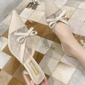 Slippers Slides Women Shoes Woman Fashion Pointed Mesh Sandals 2020 Summer New Bow Sexy Fashionable High-heeled Slippers D250