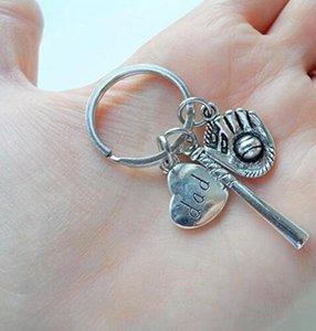 Antik Gümüş Baba Beyzbol Anahtarlık Babalar Günü Hediyesi Charm Anahtarlık Kolye Anahtarlık Erkek Kadın Tatil Hediye Anahtarlık 170