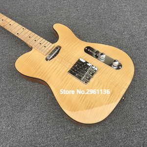 High quality electric guitar,TL style,elm body with Maple neck and Flamed Maple Top,Custom electric guitar,free shipping