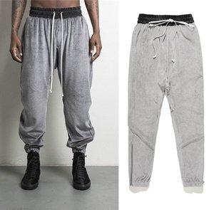 Velvet Jogger Pants for Men Fashion Drawstring Zipper Spilt Opening Design Pencil Pants High Street Sweatpants Free Shipping
