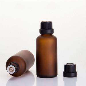 50ml Amber Mattglas ätherisches Öl Parfümflasche kosmetische Flüssigkeit Diffusor Sub-Flasche mit Innenstopfen mehrere Kappen für wählen