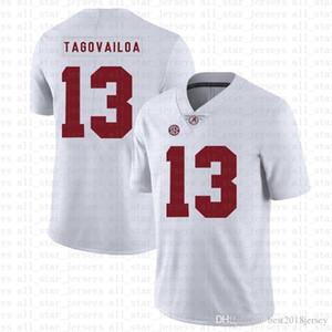 ألاباما قرمزي المد والجزر 13 توا Tagovailoa الأمريكي لكرة القدم جيرسي 10 توم برادي 26 Saquon باركلي 97 نيك بوسا الفانيلة البيضاء