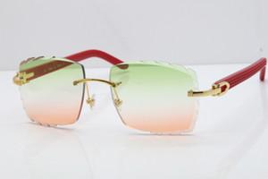 2019 di trasporto senza orlo occhiali rossi Aztec occhiali da sole caldi di metallo Mix Arms 3524012 occhiali da sole unisex Occhiali Da Sole intagliato Lens