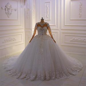2020 Роскошные кристаллы бисера Длинные рукава бальное платье свадебные платья Vintage Lace Appliqued Saudi Arabic Дубай свадебное платье
