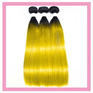 Brazilian 1B Yellow Ombre Color Straight Body Wave 3 Bundles Shine 1B Yellow Three Pieces Hair Extensions 8-28inch