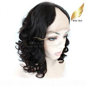 """Hotselling U Part Front Wigs Lace vierges indiens perruques de cheveux pour les femmes noires Big Curly 12 """"-24"""" Bellahair"""