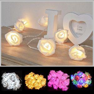 Tatil Valentine Düğün Dekorasyon HHA1131 için +10 LED 20led Yapay Gül Çiçek Işıklar LED Gül Lambası Aydınlatma Çiçekler Beyaz Pembe