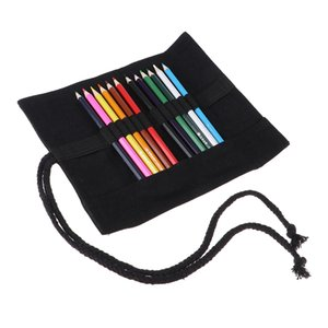 1 Set Large Capacity Pencil Bag Rolling Canvas Painting Pencil Wrap Stationery Pouch