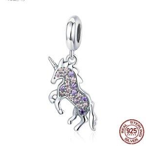 925 Ayar Gümüş Licorne Bellek Kolye Pembe Mor CZ Hayvan Charms Fit Kadınlar Bilezikler Kolye Hayvan Charm Takı Yapımı