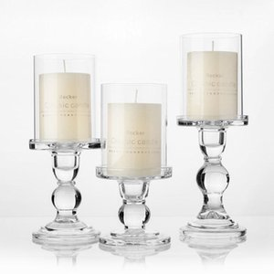 """1pc 3.46   4.52   5.51 In Glass Candle Holders for 3\"""" Pillar Candle and 3 4\"""" Taper Candle Wedding Decoration Candlestick"""