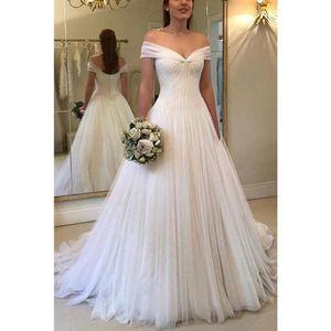 Скромный дизайн Off плеча Свадебные платья Линия Открыть Назад Тюль Zipper складка Sweep Поезд свадебное платье