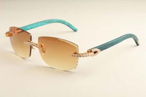 2019 nuova moda di lusso diamante degli occhiali da sole di luce ultra T3524015-6 piccola cornice naturale blu occhiali da sole di legno specchio incisione trasporto libero