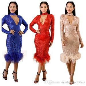 Vestidos Outono profundo decote em V Bodycon Clube Party Dress Vestido de Noite Vestir Mulheres Sexy Lantejoulas