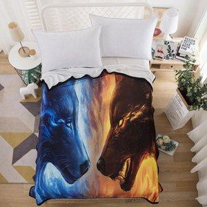 Flanelle Couverture pour garçon mince Yin Yang Loup mode Lifelike cool Bedspread 3D Imprimé confortable Accueil Textile