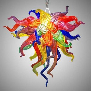 Wholesale Colorful Small Chandelier for Home Decoration LED Bulbs Style Multicolor Hand Blown Glass Crystal Chandelier