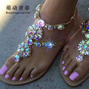 6 Color Woman Sandals Women Shoes Rhinestones Chains Thong Gladiator Flat Sandals Crystal Chaussure Plus Size 46 tenis feminino CJ191128