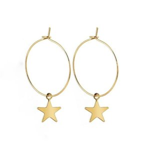 Or Argent LOULEUR Simple Boucles d'oreilles à la mode Big Circle Round Charm Petit Etoiles Hoop Boucles d'oreilles pour femmes filles coréennes 2020