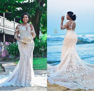2020 Luxury Beaded Plus Size Mermaid Wedding Dresses Sheer Jewel Neck Lace Appliqued Black Gilrs Bridal Gowns Custom Made Hollow Back Dress