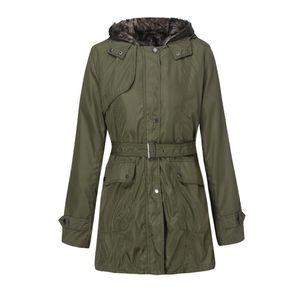 Kürk Astar Ceket Bayan Kış Sıcak Kalın Uzun Ceket Kapşonlu Parka Sıcak Yün Fermuar Coat Pamuk Palto Dış Giyim abrigo mujer