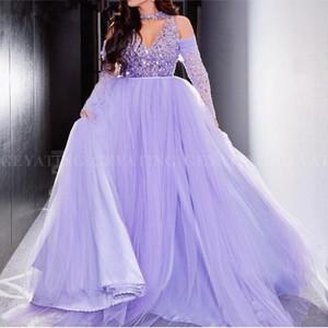 Дубай светло-фиолетовый бальное платье Арабские вечерние платья 2019 Элегантное платье с открытыми плечами и длинными рукавами Лаванда Формальные платья для выпускного вечера Robe de soiree