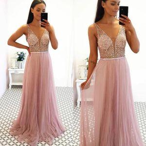 2020 Aso Ebi Arabi Erröten Rosa-reizvolle Abend-Kleider wulstige Sequins-Abschlussball-Kleid mit tiefer V-Ausschnitt-formaler Partei zweiter Empfang Kleider ZJ365