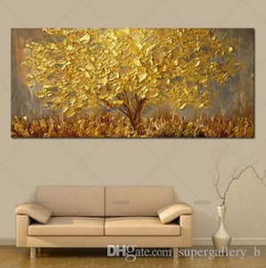 Handpainted & HD Print Modern Abstract Art Oil Painting Golden Tree,Home Wall Decor On High Quality Canvas Multi Sizes l05